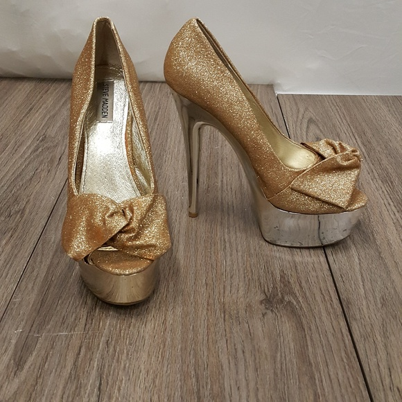 Steve Madden Gold Bow Platform Heels